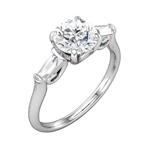 14K White Gold 5.2mm Sculptural-Inspired Engagement Ring (Size 6)