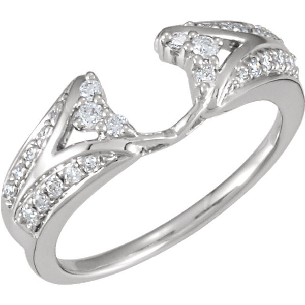14k White Gold 1/4 CTW Diamond Ring Wrap, Size 7