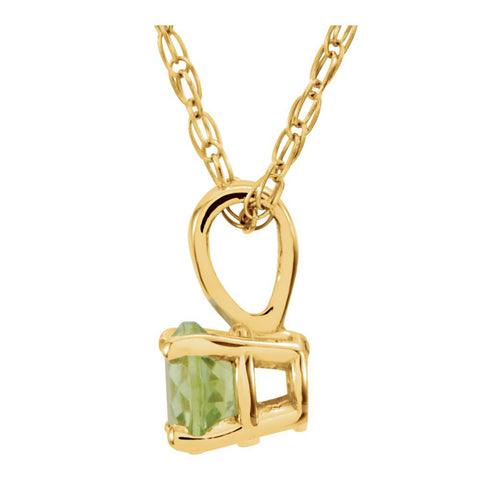 "14k Yellow Gold Imitation Peridot ""August"" Birthstone 14"" Necklace"