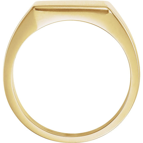 10k Yellow Gold 12mm Men's Signet Ring with Brush Finish, Size 10