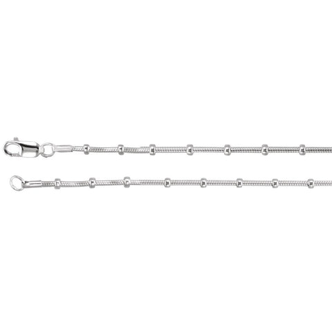 Snake and Bead Chain with Lobster Clasp in Sterling Silver ( 18 Inch )