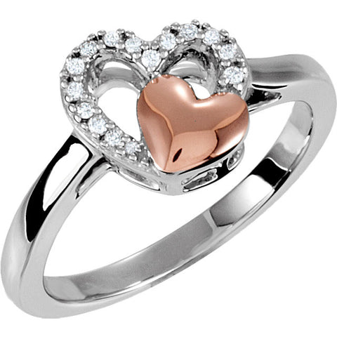 Sterling Silver & 10K Rose 1/10 CTW Diamond Heart Ring Size 5