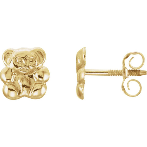 14K Yellow Gold Kids Teddy Bear Earrings