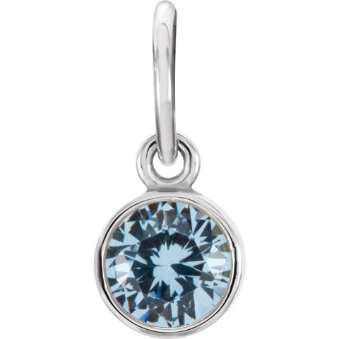 Sterling Silver Imitation Aquamarine Birthstone Charm