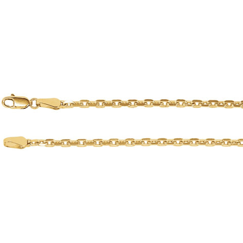 2.5 mm Diamond Cut Cable Chain Bracelet in 14k Yellow Gold ( 7-Inch )