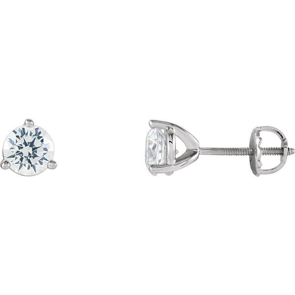 14k White Gold 5.75mm Cubic Zirconia Round 3-Prong Stud Earrings