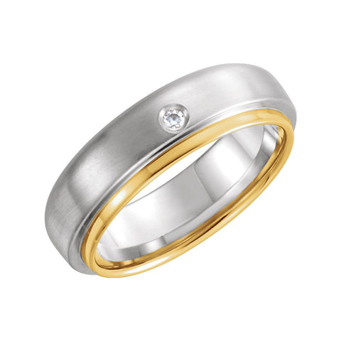 14k White & Yellow Gold 0.025 ctw. Diamond 6mm Comfort-Fit Wedding Band for Men, Size 11
