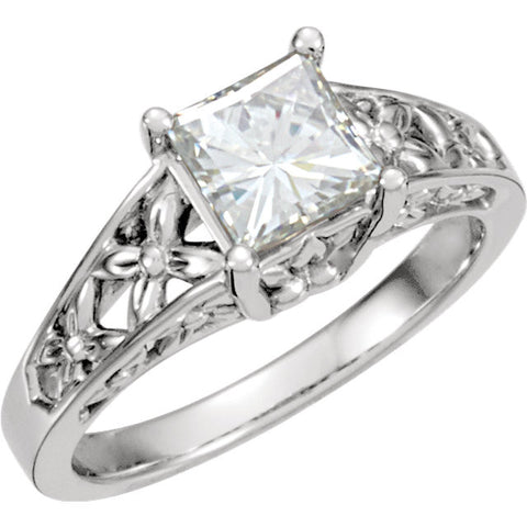 06.00 mm = 1 1/4 ct. Created Moissanite Engagement Ring in 14k White Gold ( Size 6 )