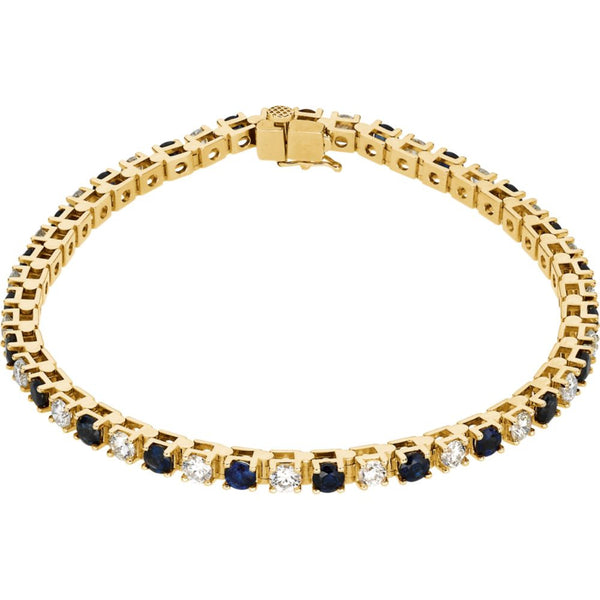 14k Yellow Gold Blue Sapphire & 2 1/3 CTW Diamond Bracelet