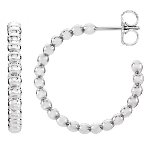 14k White Gold 21mm Beaded Hoop Earrings