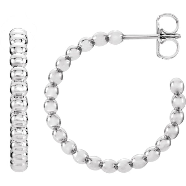 14k White Gold 17mm Beaded Hoop Earrings