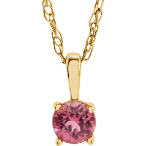 "14k Yellow Gold Imitation Pink Tourmaline ""October"" Birthstone 14-inch Necklace for Kids"