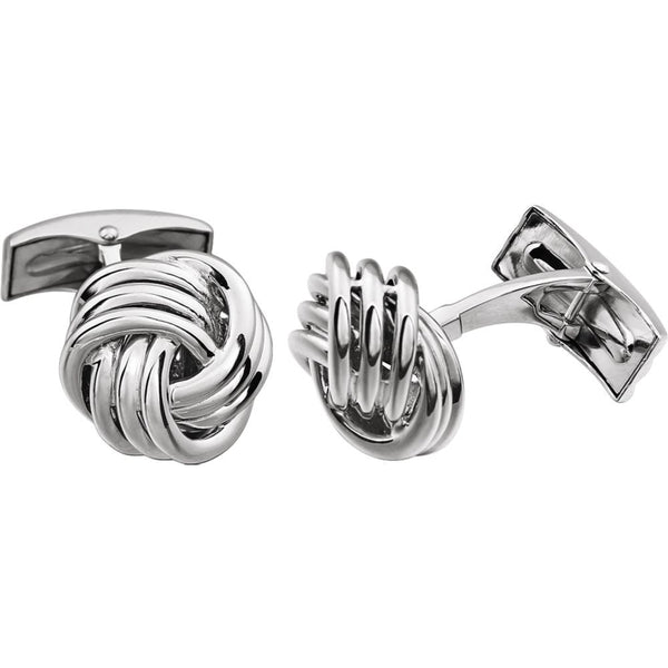 14k White Gold Knot Cuff Links