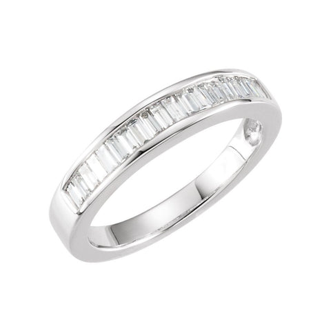 14k White Gold 1/2 CTW Diamond Anniversary Band Size 5