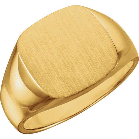 14.00 mm Men's Signet Ring With Brush Finish in 10K Yellow Gold (Size 10)