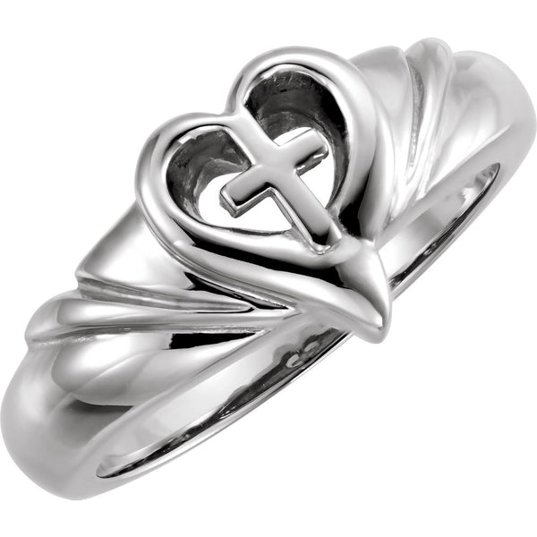 Sterling Silver Heart & Cross Ring , Size 7