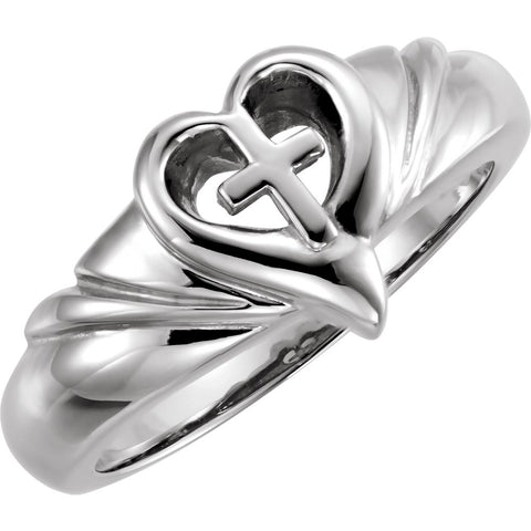 Heart and Cross Ring in Sterling Silver ( Size 6 )