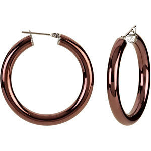 Stainless Steel 5x30mm Hoop Earrings with Chocolate Immerse Plating