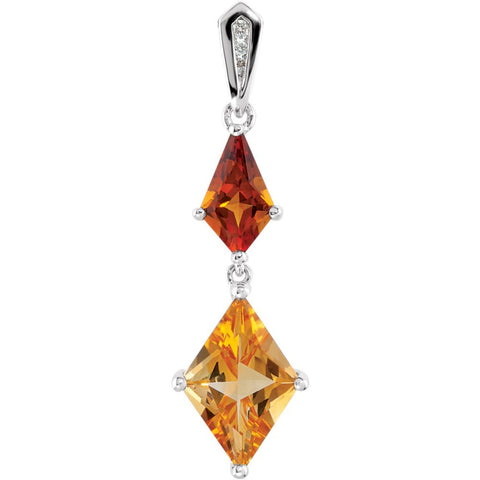 0.025 CTTW Genuine Madeira Citrine, Citrine and Diamond Pendant in Sterling Silver