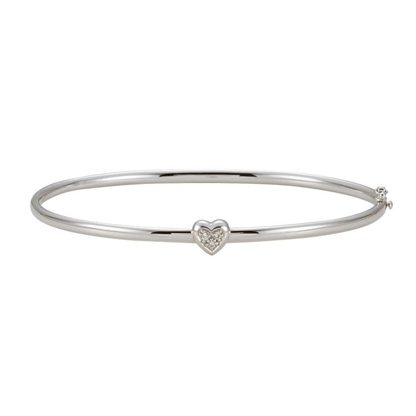 14k White Gold .03 CTW Diamond Bangle Bracelet