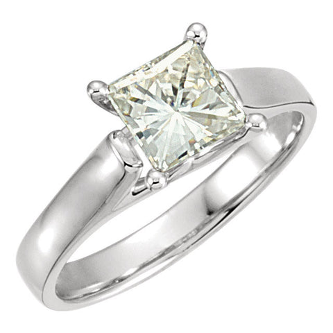 06.00 mm = 1 1/4 ct. Created Moissanite Solitaire Engagement Ring in 14k White Gold ( Size 6 )