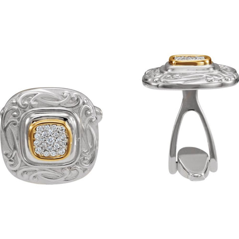Pair of 1/4 CTTW Diamond Cuff Links in Sterling Silver and 14k Yellow Gold