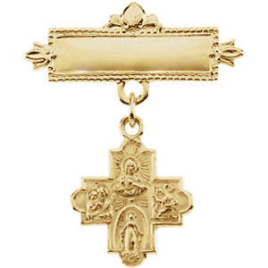 14k Yellow Gold 12mm Four-Way Medal Baptismal Pin