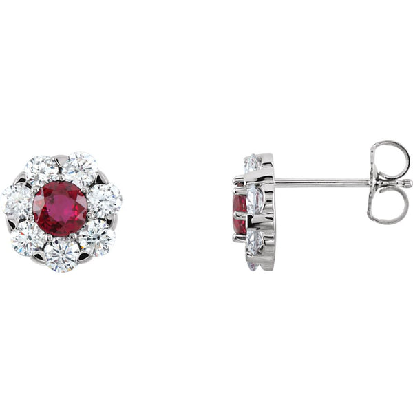 14k White Gold Ruby & 1 1/8 CTW Diamond Cluster Earrings