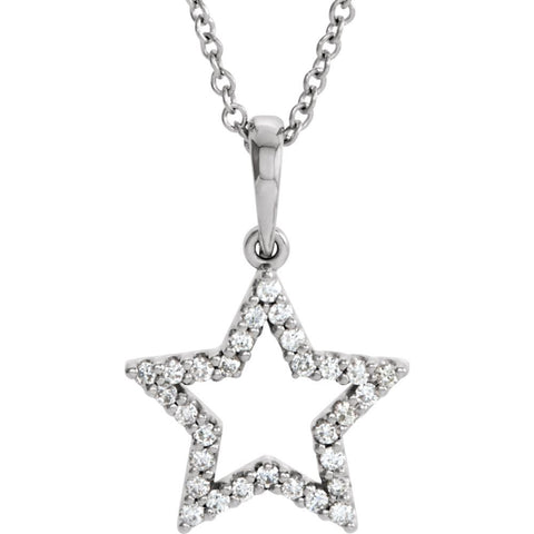 "14k White Gold 1/6 CTW Diamond Petite Star 16"" Necklace"