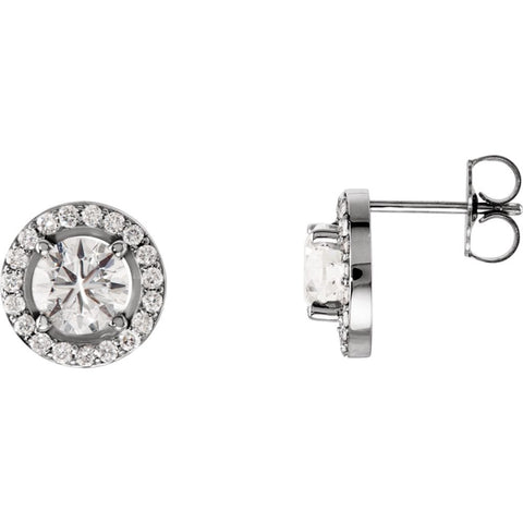 Pair of 1 9/10 CTTW Halo-Styled Stud Earrings in 14k White Gold