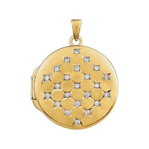 Yellow Gold Plated Sterling Silver Round Cubic Zirconia Locket