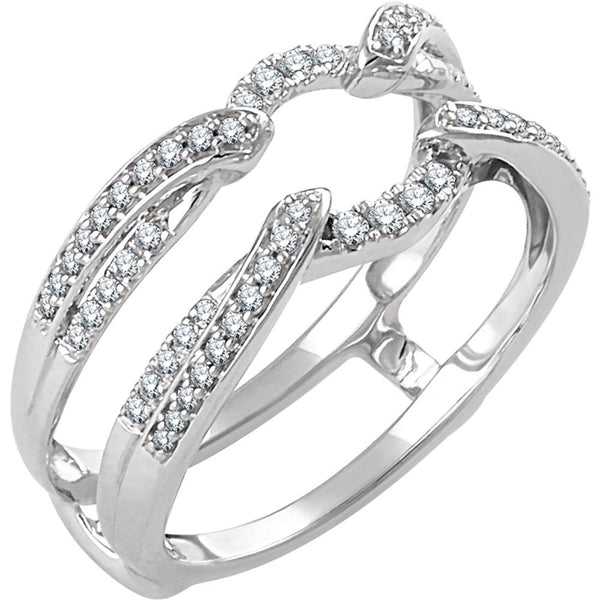 14k White Gold 1/3 CTW Diamond Ring Guard Size 7