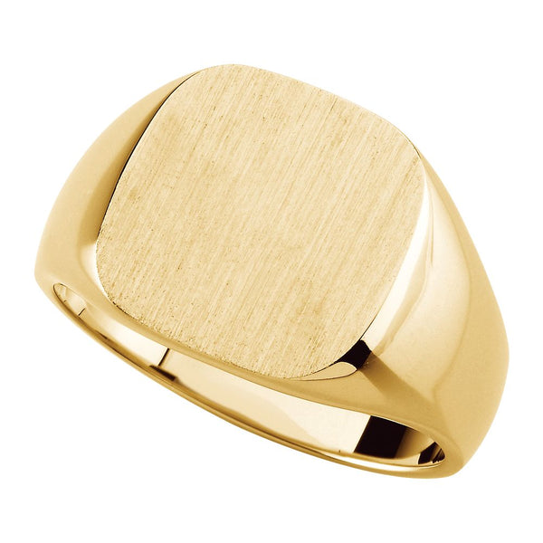 10k Yellow Gold 14mm Men's Solid Signet Ring , Size 11