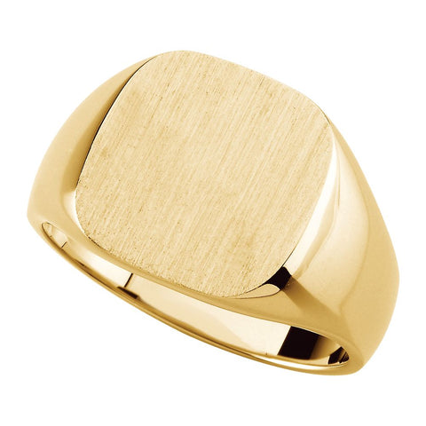 14.00 mm Men's Solid Signet Ring with Brush Finished Top in 10k Yellow Gold ( Size 10 )
