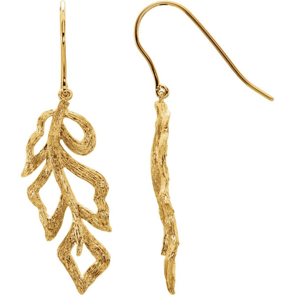 14K Yellow Gold-Plated Sterling Silver Textured Bark Leaf Earrings