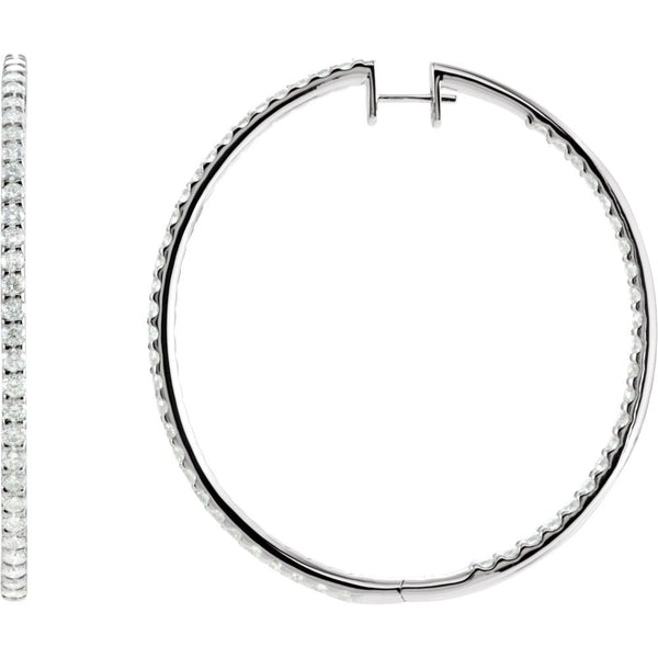 14k White Gold 5 CTW Diamond Inside/Outside Hoop Earrings