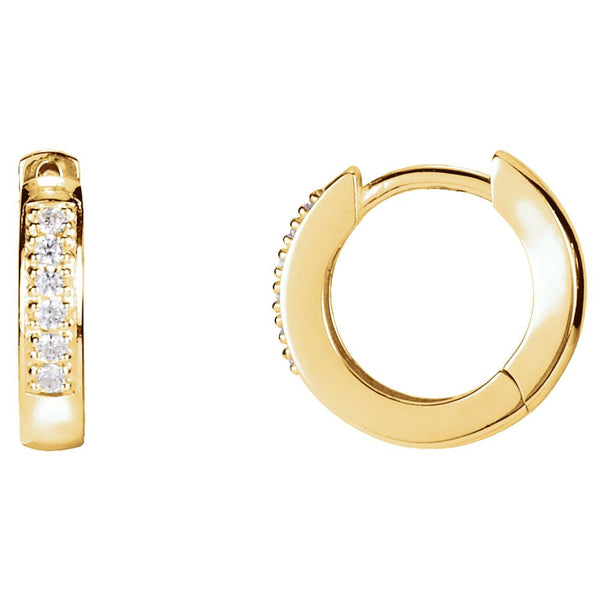 14k Yellow Gold 1/10 CTW Diamond Hoop Earrings