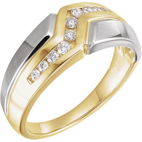 14k White/Yellow Gold Men's Diamond Ring, Size 10.5