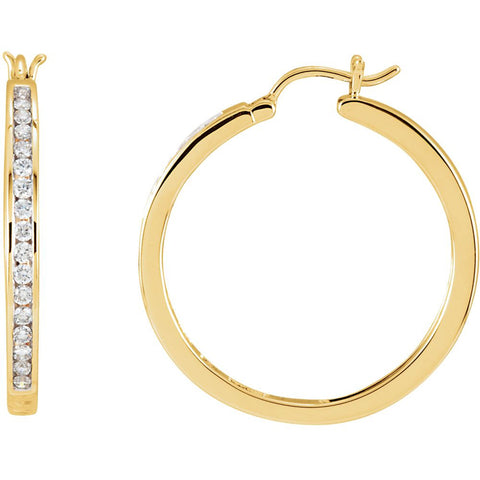 Pair of 1/2 CTTW Channel Set Diamond Hoop Earrings in 14k Yellow Gold