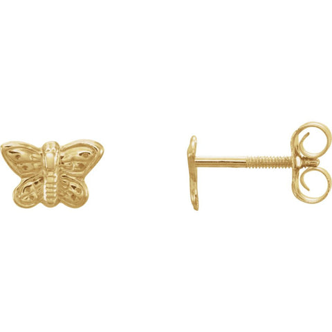 14K Yellow Gold 5X7mm Kids Butterfly Earrings