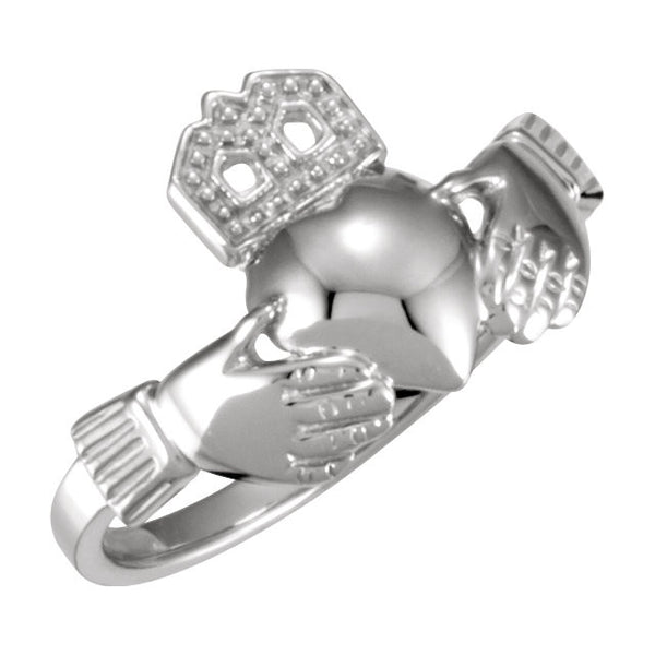 14k White Gold 12x14mm Ladies Claddagh Ring, Size 7