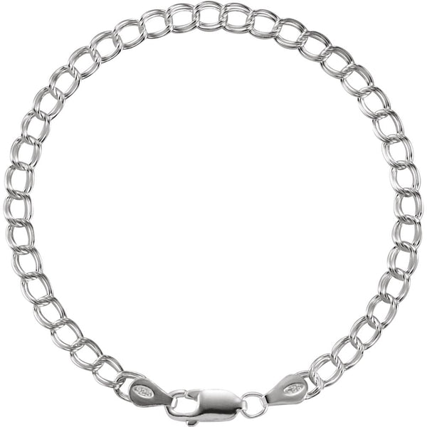 "Sterling Silver 4mm Solid Charm 7"" Bracelet"