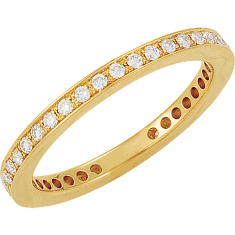 14k Yellow Gold 3/8 CTW Diamond Eternity Band Size 6.5