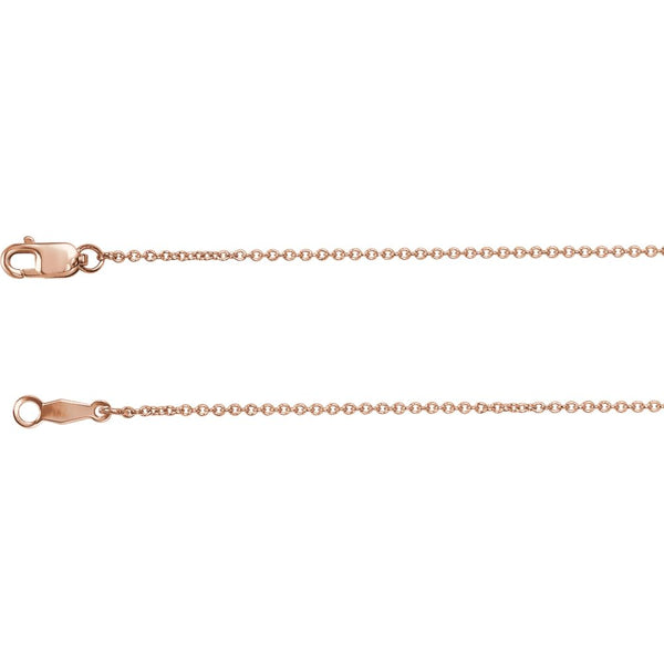 "14k Rose Gold 1mm Solid Cable 16"" Chain"