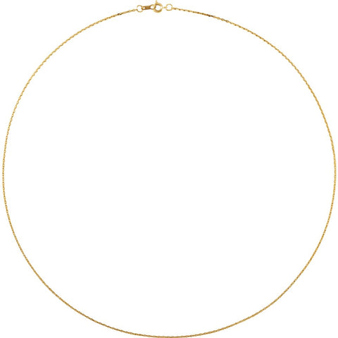 "14k Yellow Gold 1mm Diamond Cut Cable 18"" Chain"