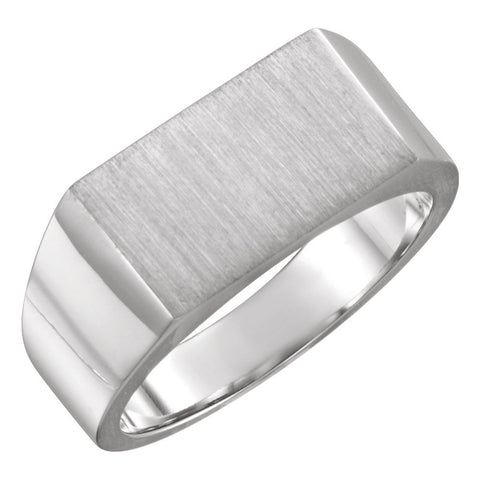 09.00X15.00 mm Men's Signet Ring with Brush Finished Top in 14k White Gold ( Size 10 )