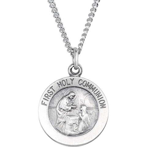 "Sterling Silver 15mm First Communion Medal 18"" Necklace"