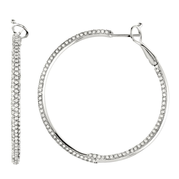 14k White Gold 2 7/8 CTW Diamond Inside/Outside Hoop Earrings