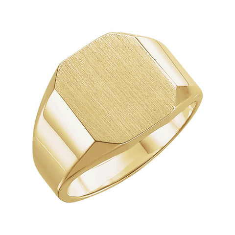 14k Yellow Gold 10x12mm Octagon Signet Ring , Size 6