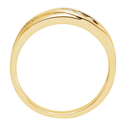 14k Yellow Gold Diamond 5-Stone Band, Size 11